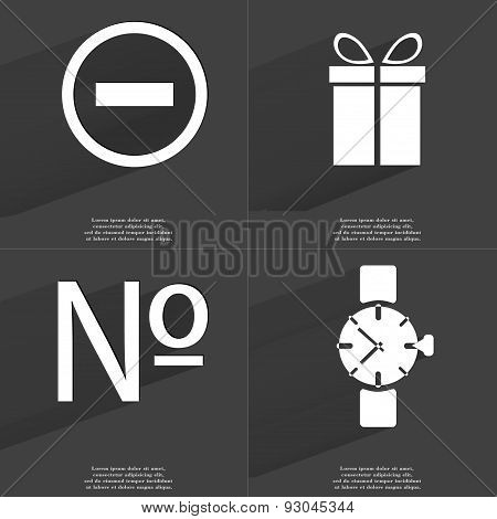 Minus, Gift, Numero Sign, Wrist Watch. Symbols With Long Shadow. Flat Design