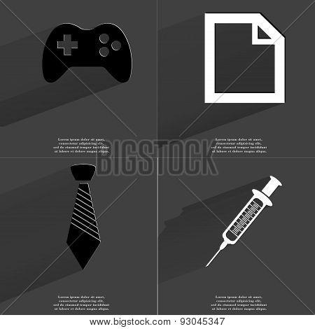 Gamepad, File Sign, Tie, Syringe. Symbols With Long Shadow. Flat Design