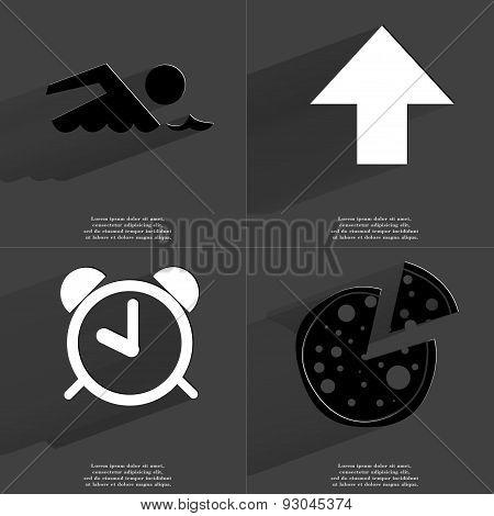 Silhouette Of Swimmer, Arrow Directed Upwards, Alarm Clock, Pizza. Symbols With Long Shadow. Flat De