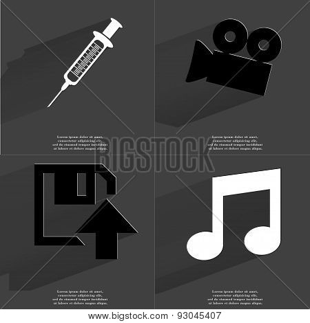 Syringe, Film Camera, Floppy Disk Upload Icon, Note Sign. Symbols With Long Shadow. Flat Design