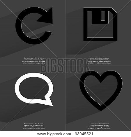 Reload Icon, Floppy Disk, Chat Bubble, Heart. Symbols With Long Shadow. Flat Design