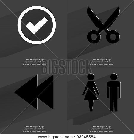 Tick Sign, Scissors, Two Arrows Media Icon, Silhouette Of Man And Woman. Symbols With Long Shadow. F