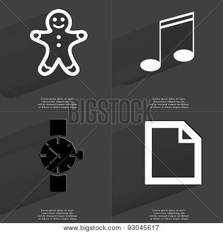 Gingerbread Man, Note Sign, Wrist Watch, File Icon. Symbols With Long Shadow. Flat Design