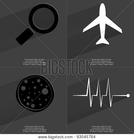 Magnifying Glass, Airplane, Pizza, Pulse. Symbols With Long Shadow. Flat Design