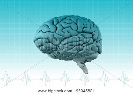 brain against ecg line on blue grid
