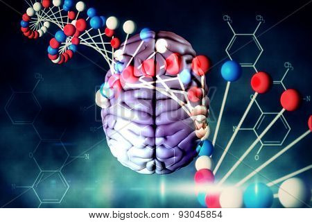 brain against blue dna strand with chemical structures