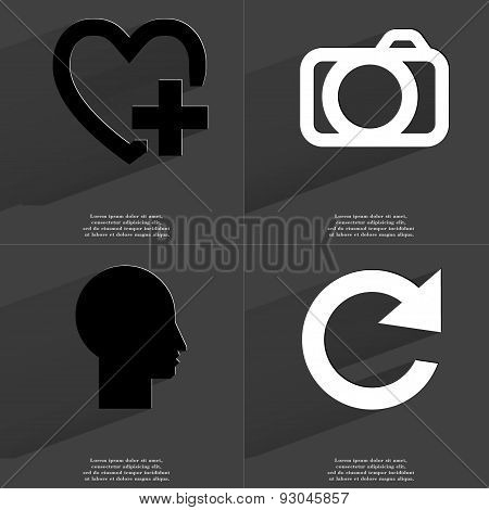 Heart Plus, Camera, Silhouette, Reload Icon. Symbols With Long Shadow. Flat Design