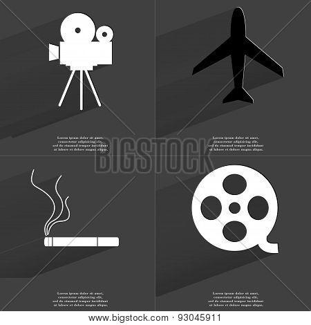 Film Camera, Airplane, Cigarette, Videotape. Symbols With Long Shadow. Flat Design