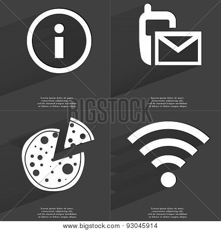Information Sign, Sms Icon, Pizza, Wlan Icon. Symbols With Long Shadow. Flat Design