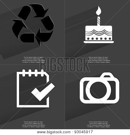 Recycling, Cake, Task Completed Icon, Camera. Symbols With Long Shadow. Flat Design