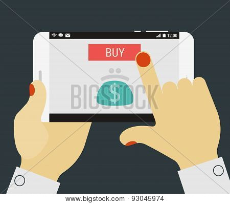 Hand pressing buy button on mobile device