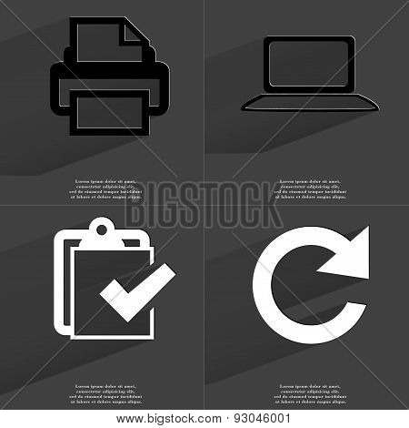 Printer, Laptop, Task Completed Icon, Reload Icon. Symbols With Long Shadow. Flat Design