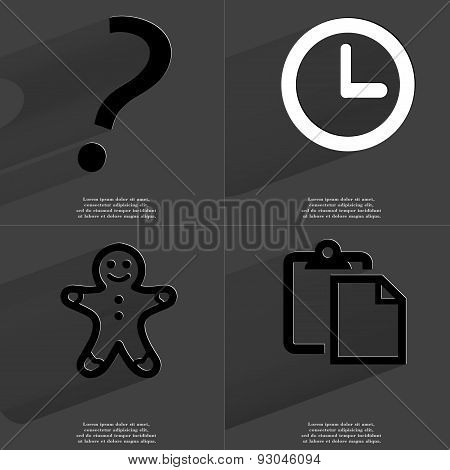 Question Mark, Clock, Gingerbread Man, Tasklist. Symbols With Long Shadow. Flat Design