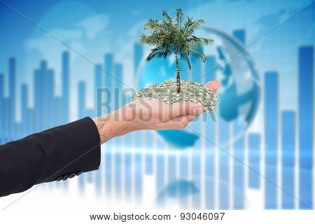 Close up of businessman with empty hand open against global business graphic in blue