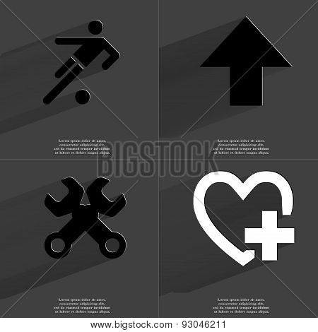 Footbal Player, Arrow Directed Upwards, Wrenches, Heart Plus Sign. Symbols With Long Shadow. Flat De