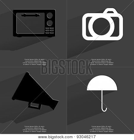 Microwave, Camera, Megaphone, Umbrella. Symbols With Long Shadow. Flat Design