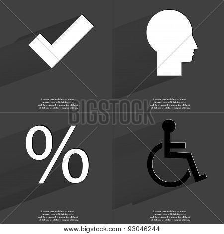 Tick, Silhouette, Percent, Disabled Person. Symbols With Long Shadow. Flat Design