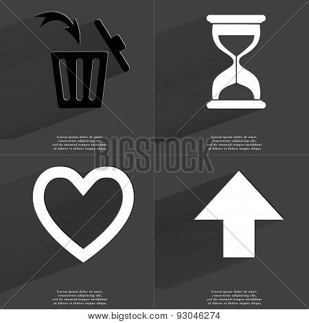 Trash Can, Hourglass, Heart, Arrow Directed Upwards. Symbols With Long Shadow. Flat Design