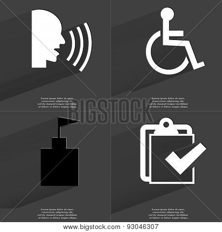 Talk, Disabled Person, Flag Tower, Task Completed Icon. Symbols With Long Shadow. Flat Design
