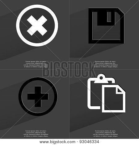 Stop, Floppy Disk, Plus , Tasklist. Symbols With Long Shadow. Flat Design