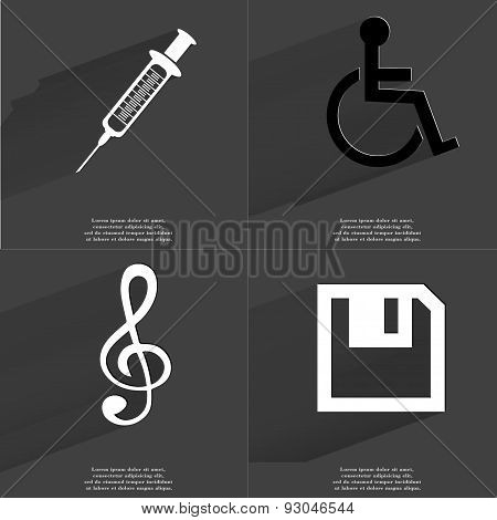 Syringe, Disabled Person, Clef, Floppy Disk. Symbols With Long Shadow. Flat Design