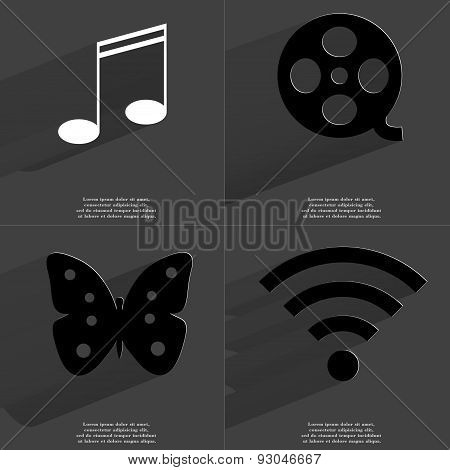 Note Sign, Videotape, Butterfly, Wlan Icon. Symbols With Long Shadow. Flat Design