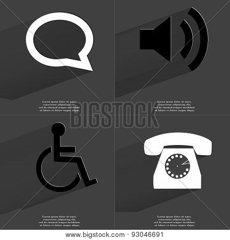 Chat Bubble, Sound Icon, Disabled Person, Retro Phone. Symbols With Long Shadow. Flat Design