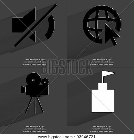 Mute, Web Icon Cursor, Film Camera, Flag Tower. Symbols With Long Shadow. Flat Design