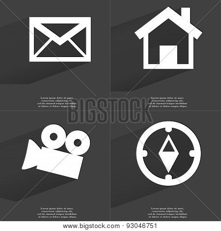 Message, House, Film Camera, Compass. Symbols With Long Shadow. Flat Design