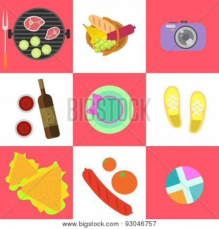 Set of picnic icons and barbeque outdoor family weekend objects in flat style