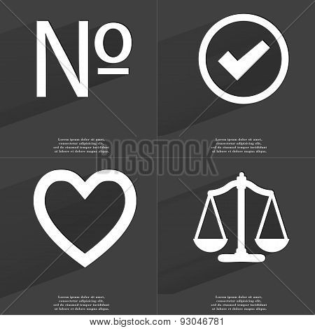 Number, Tick Sign, Heart, Scales. Symbols With Long Shadow. Flat Design