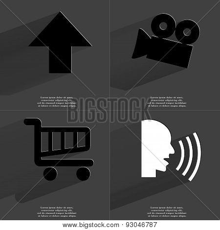 Arrow Directed Upwards, Film Camera, Shopping Cart, Talk. Symbols With Long Shadow. Flat Design