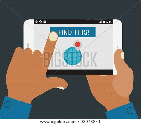 Hand pressing find a place button on mobile device