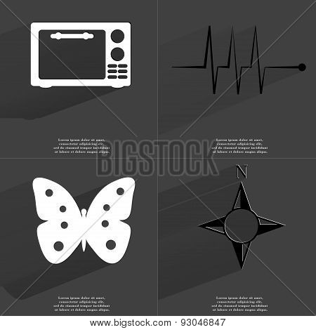 Microwave, Pulse, Butterfly, Compass. Symbols With Long Shadow. Flat Design