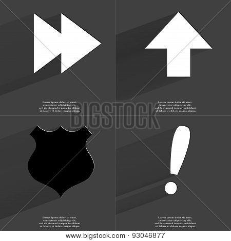 Two Arrows Media Icon, Arrow Directed Upwards, Police Badge, Exclamation Mark. Symbols With Long Sha