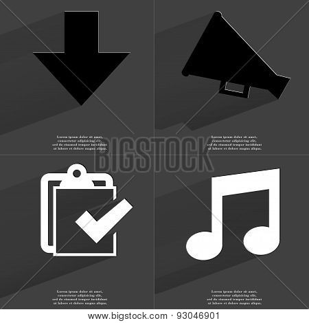 Arrow Directed Down, Megaphone, Task Completed Icon, Note Sign. Symbols With Long Shadow. Flat Desig
