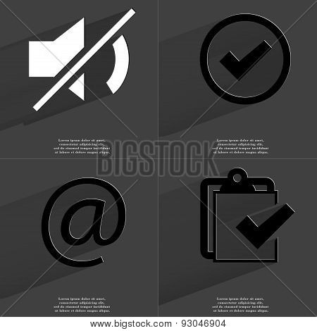 Mute, Tick Sign, Mail, Task Completed Icon. Symbols With Long Shadow. Flat Design