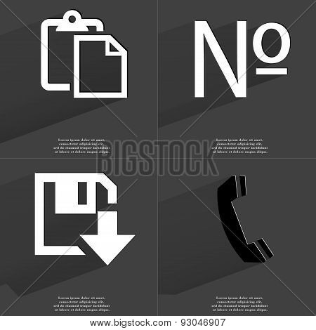 Tasklist, Number Sign, Floppy Disk Download Icon, Receiver. Symbols With Long Shadow. Flat Design