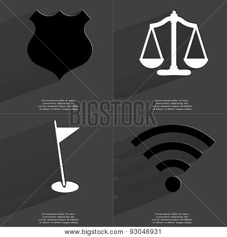 Police Badge, Scales, Golf Hole, Wlan Icon. Symbols With Long Shadow. Flat Design