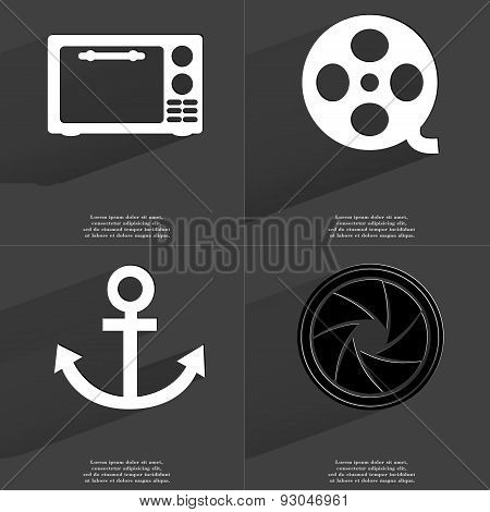 Microwave, Videotape, Anchor, Lens. Symbols With Long Shadow. Flat Design
