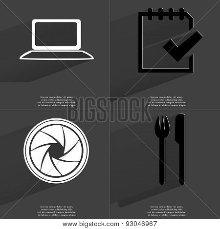 Laptop, Task Completed Icon, Lens, Fork And Knife. Symbols With Long Shadow. Flat Design