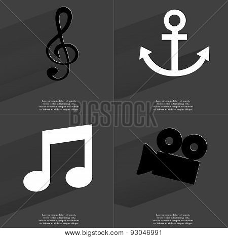 Clef, Anchor, Note Sign, Film Camera. Symbols With Long Shadow. Flat Design