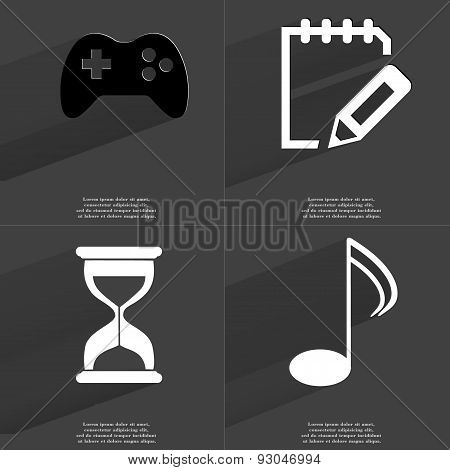 Gamepad, Notebook, Hourglass, Note Sign. Symbols With Long Shadow. Flat Design