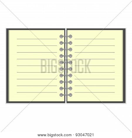 Open spiral lined notebook