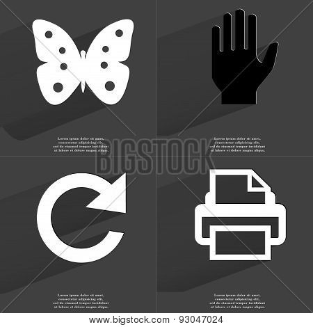 Butterfly, Hand, Reload Icon, Printer. Symbols With Long Shadow. Flat Design