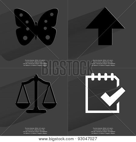 Butterfly, Arrow Directed Upwards, Scales, Task Completed Icon. Symbols With Long Shadow. Flat Desig