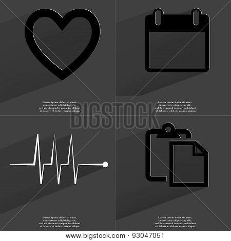 Heart, Calendar, Pulse, Tasklist. Symbols With Long Shadow. Flat Design