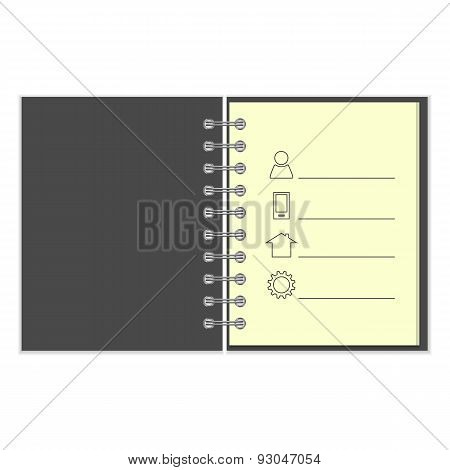 Ring-bound notebook with personal information