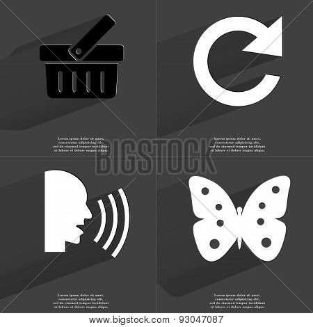 Basket, Reload Icon, Talk, Butterfly. Symbols With Long Shadow. Flat Design