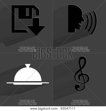 Floppy Disk Download Icon, Talk, Tray, Clef. Symbols With Long Shadow. Flat Design